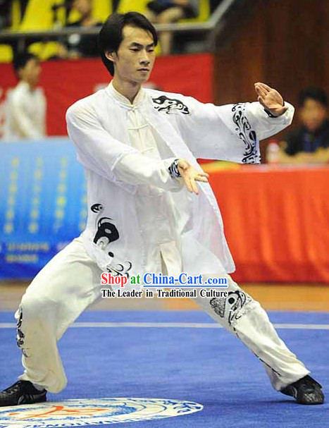 Long Sleeve White Yin and Yang Embroidered Pattern Kung Fu Dresses and Veil for Men