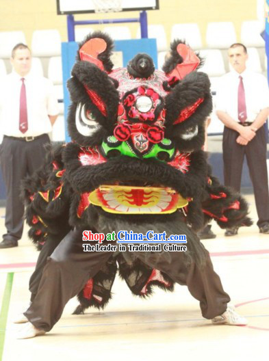 Gwan Gong Guan Yu Black Wool Lion Dance Costumes Complete Set