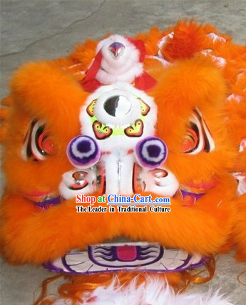 Supreme Orange Natural Wool Grand Opening and Business Promotion Lion Dance Equipments Complete Set
