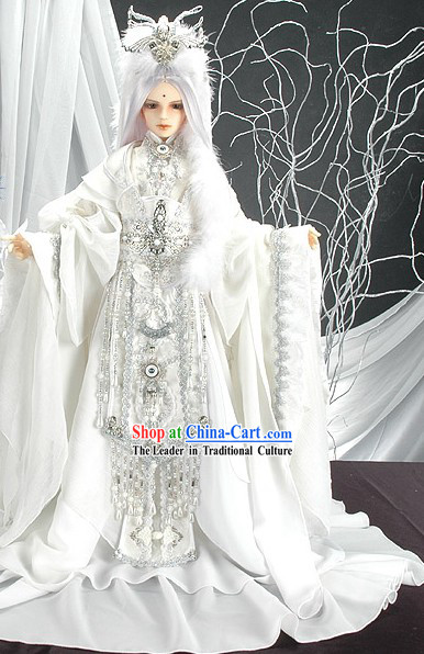 Pure White China Prince Cosplay Costumes and Wigs