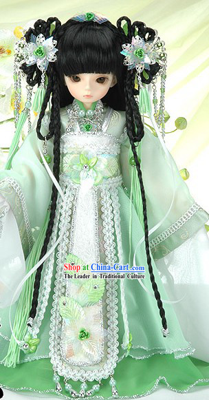 Light Green Cute China Girl Costumes and Accessories for Kids
