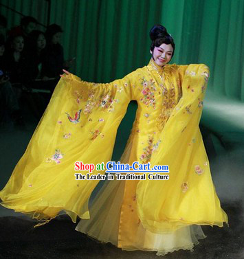 Yellow Kunqu Opera Fairy Flower Clothing