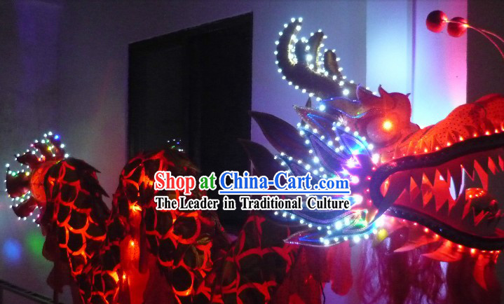 Shinning Golden Dragon LED Lights Style Dragon Dance Costumes for Three to Four Adults