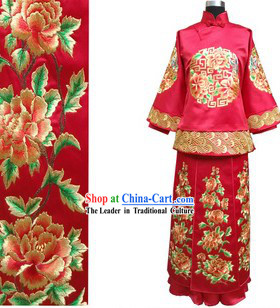 Traditional Chinese Classical Hand Embroidered Lucky Red Wedding Dress for Brides