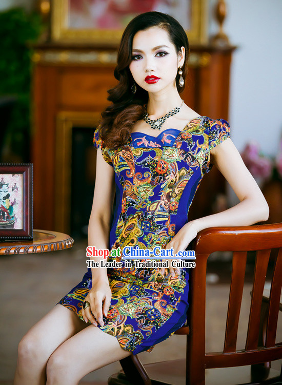 Traditional Chinese Old Shanghai Style Short Cheongsam Qipao