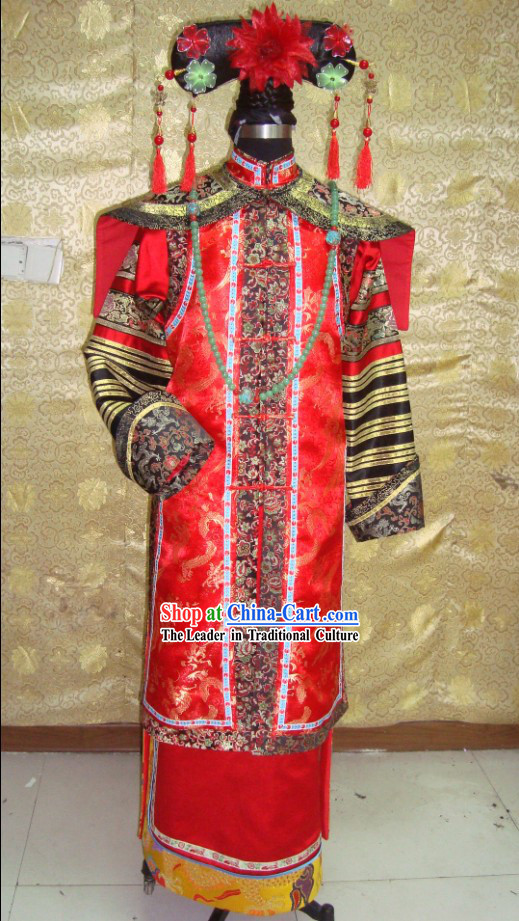 China Qing Dynasty Empress Phoenix Robe Costumes and Headpiece Complete Set