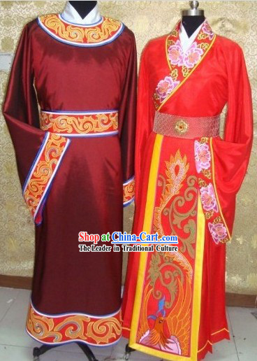 Ancient Traditional Chinese Wedding Suit and Hat for Brides and Bridegrooms