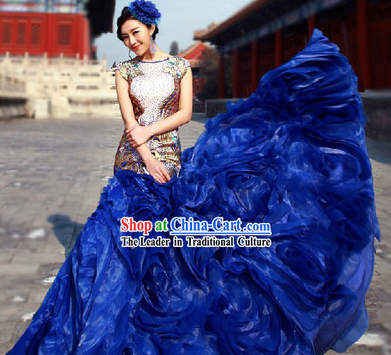 2013 New Design Blue Evening Dress with Fish Trail