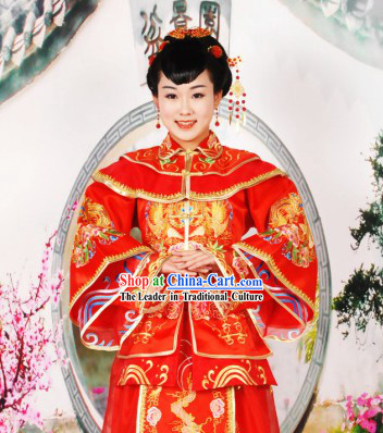 Chinese Classical Wedding Blouse and Skirt Complete Set for Women