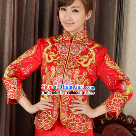 Chinese Classic Dragon and Phoenix Wedding Dresses for Brides
