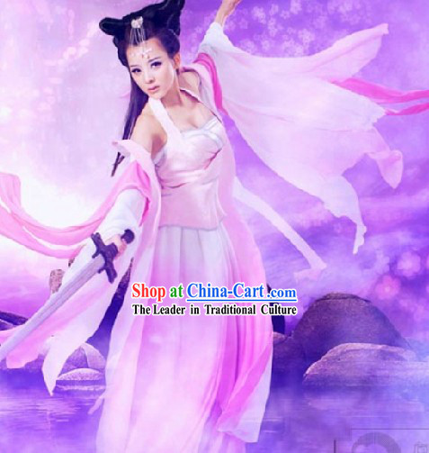 A Chinese Ghost Story Nie Xiaoqian Costumes and Black Long Wigs Complete Set