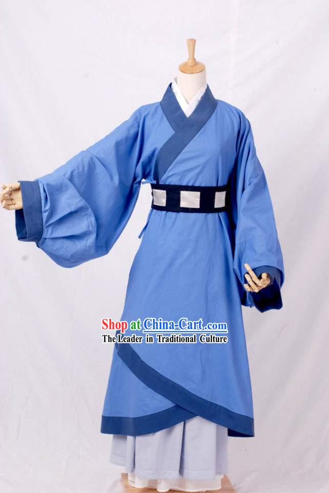 Ancient Traditional Blue Han Fu Robe for Men