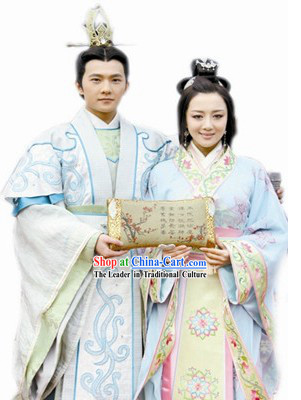 Ancient Chinese Loved Couple Clothing Two Complete Sets