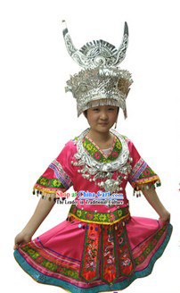 Traditional Chinese Miao Silver Hat Necklace and Outfit for Girls