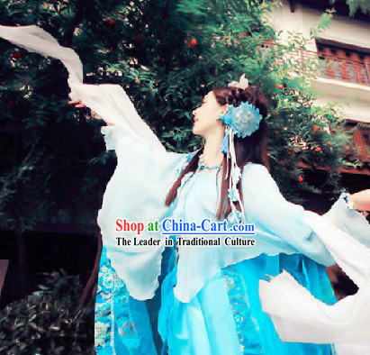 Traditional Chinese Stage Performance Fairy Dancing Costume and Headwear _10 colors are available_