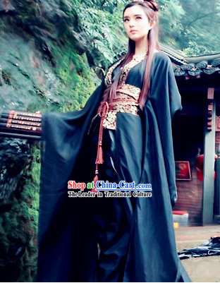 Black Traditional Ancient Chinese Swordsman Costume