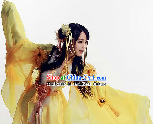 Yellow Ancient Chinese Fairy Costumes and Hair Accessories