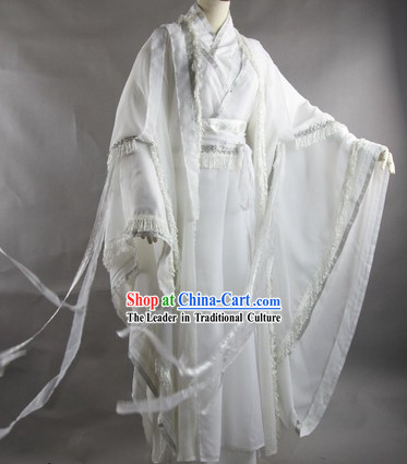 Traditional Ancient Chinese White Swordsman Costume Complete Set
