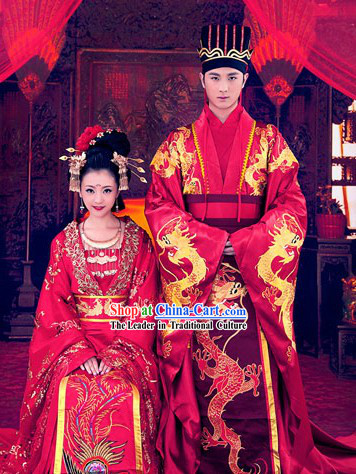 Chinese Traditional Wedding Ceremony Dresses, Hat and Hair Accessories Complete Sets