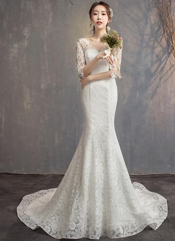 Stunning Beautiful Lace Fish Tail Wedding Dress