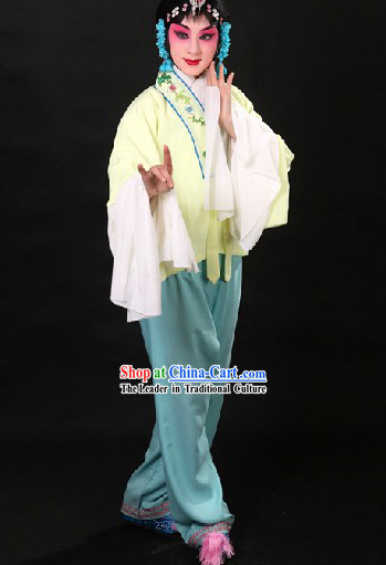 Traditional Chinese White Beijing Opera Hua Dan Long Sleeves Practice Outfit