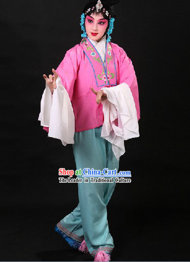 Traditional Chinese Deep Pink Beijing Opera Hua Dan Long Sleeves Practice Costume