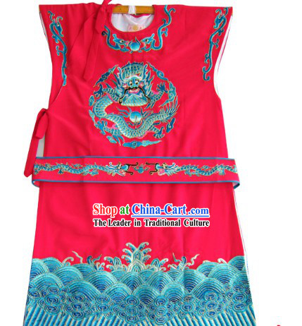 Red Traditional Chinese Opera Dragon Embroidery Long Jacket for Bao Yu or Number One Scholar