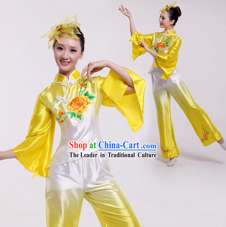 Traditional Chinese Colour Transition Fan Dancing Costumes for Women
