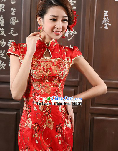 Long Peony Embroidery Chinese Mandarin Style Evening Dress