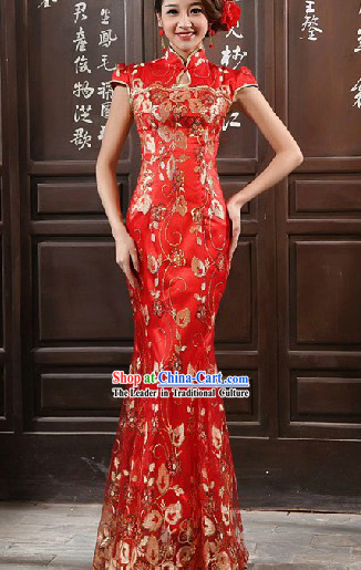 Long Lace Red Chinese Mandarin Wedding Evening Dress