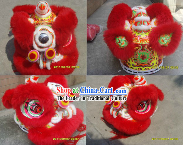 Red Sheep Wool Lion Dance Costumes Complete Set