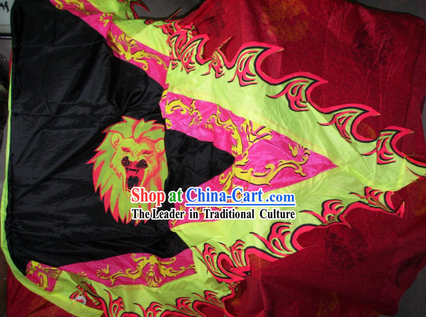 Chinese Lion Dance and Dragon Dance Performance Giant Flag Banner