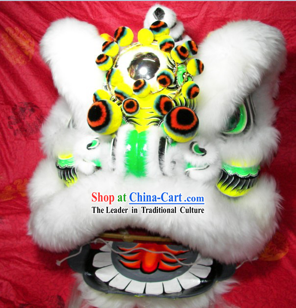 Supreme White Wool Fut San Lion Dance Costumes Complete Set