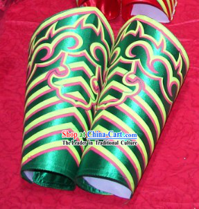 Green Professional Competiton and Performance Dragon Dancer and Lion Dance Legs Wrappings