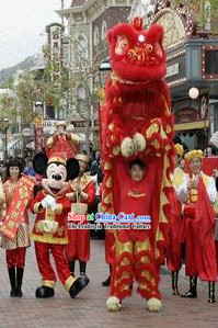 Happy Chinese New Year Parade Red Lion Dance Costume Complete Set