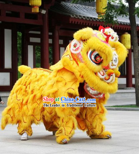 Yellow Color Chinese Lunar New Year Hok San Lion Dance Costumes Complete Set