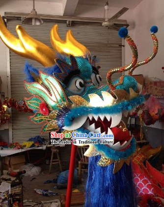 Competition and Parade Traditional Chinese Blue Dragon Dance Costumes Complete Set
