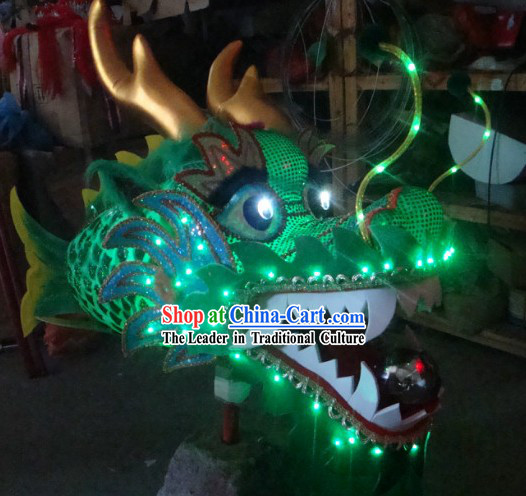 Handmade LED Luminous Flame Chinese Traditional Dragon Head Fish Body Prop