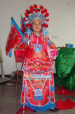 Children Size Chinese Beijing Opera Armor Costumes and Helmet