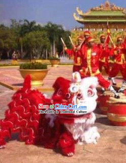 Half Red Half White Festival Ceremony Lion Dance Costumes Complete Set