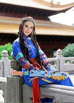Chinese Ethnic Clothing and Hair Jewelry Complete Set for Women