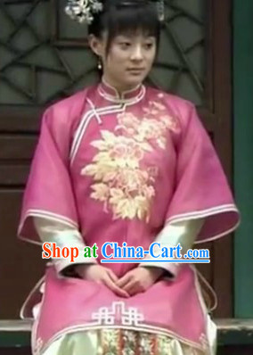 Chinese Qing Dynasty Imperial Empress Dresses and Headwear Complete Set