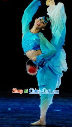 Chinese Classical Competition Dance Costumes and Headwear Complete Set for Women