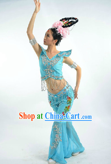 Light Blue Fei Tian Flying Angel Dance Costumes and Headwear Full Set