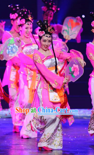 Traditional Chinese Fairy Fan Dancing Costumes and Headdress Complete Set for Women