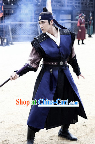 Ancient Korean Knight Costumes Korean Warrior Dress and Headwear Complete Set for Men