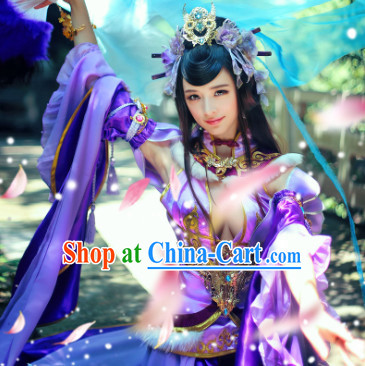 Chinese Yellow Princess Cosplay Costumes and Headdress Complete Set