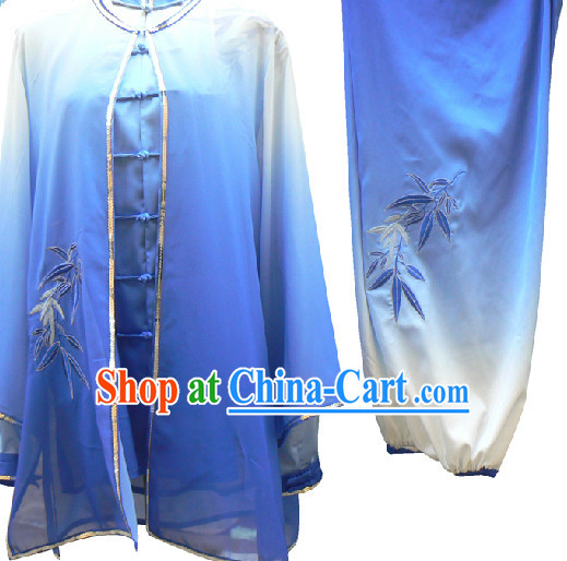 Color Transition Bamboo Embroidery Tai Chi Suit and Cape
