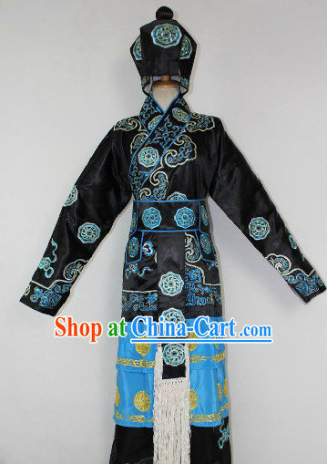 Chinese Ancient Wu Song Hero Costumes and Hat Complete Set for Men