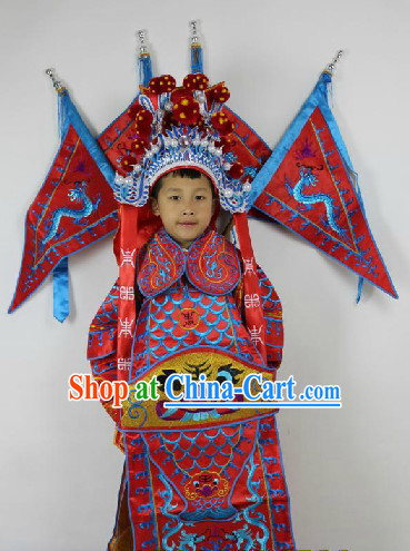 Traditional Chinese Beijing Opera General Costumes and Helmet Complete Set for Kids